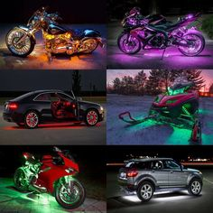 10 RGB Music Control Wireless Remote LED Car Motorcycle Light Atmosphere Lamp with Smart Brake Accent Neon Style Kit  Price: 62.06 & FREE Shipping  #helmets|#clothing|#parts|#accessories Motorcycle Lights, Neon Style, Fluorescent Colors, Funny Decals, Countries Around The World, Led, Strobing, Car Stickers, Natural Disasters