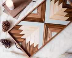 Wood Tray with Leather Handles Modern Serving Tray Diy Wood Projects, Wood Crafts, Lathe Projects, Wooden Wall Art, Wood Wall, Modern Serving Trays, Mosaic Wall Art, Geometric Wall Art, Wood Tray