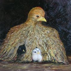 "Hen and Chicks, oil on canvas, 24"" x 24"", 2014 , in the collection of Leslee Reiter"