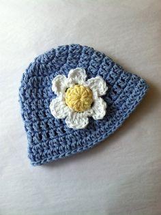 Blue Sun Hat Crochet Baby Hat Newborn Hat by LakeviewCottageKids, $22.00