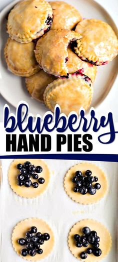 These sweet, delicious homemade BLUEBERRY HAND PIES are a favorite treat for us -- I know you'll love them, too! These sweet, delicious homemade BLUEBERRY HAND PIES are a favorite treat for us -- I know you'll love them, too! Köstliche Desserts, Delicious Desserts, Yummy Food, Mexican Desserts, Tasty, Plated Desserts, Doce Light, Pie Dessert, Snacks