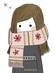 Bundled up... ~ Frisquet - (winter, chilly, illustrations)