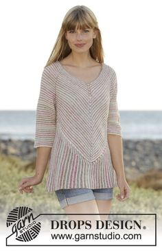 """Knitted DROPS jumper worked diagonally in garter st with stripes and domino squares in """"Fabel"""".Free Pattern"""