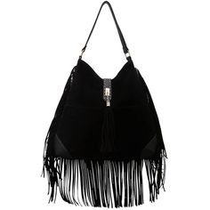 Black Fringed Trim Bag (140 BRL) ❤ liked on Polyvore featuring bags, handbags, black faux leather bag, vegan bags, black fringe bag, black faux leather handbag and fringe bag