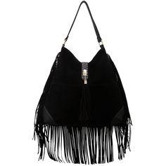 Black Fringed Trim Bag (140 BRL) ❤ liked on Polyvore featuring bags, handbags, black faux leather bag, vegan bags, black fringe bag, black faux leather handbag and fringe bag
