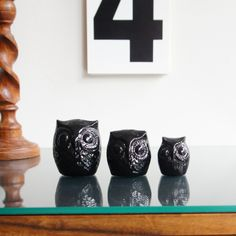 Ceramic owl family set of three in black by PIRDY on Etsy, $40.00