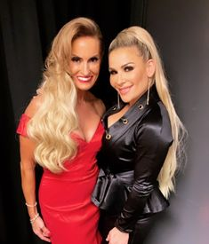 """WWE Superstar Natalya (Natalie Neidhart Wilson) with Dana Viale Warrior at the 2019 WWE Hall of Fame ceremony in Brooklyn, New York. Dana is a WWE ambassador and the widow of WWE Hall of Fame legend Ultimate Warrior (James Brian Hellwig). Nattie is the daughter of WWE Hall of Fame inductee Jim """"The Anvil"""" Neidhart, who passed away in August 2018. Nattie accepted the honor on behalf of her dad. #WWE #WWEHOF #WrestleMania #wwefamilies #wife #parents #daughters #family #wrestling #wrestlers"""