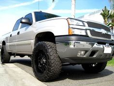 Cool and uniquely lifted Chevy! Lifted Chevy, Lift Kits, Wheels And Tires, Big Trucks, Monster Trucks, Cool Stuff, Big Rig Trucks
