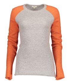 Loving this Gray & Orange Raglan Sweater on #zulily! #zulilyfinds