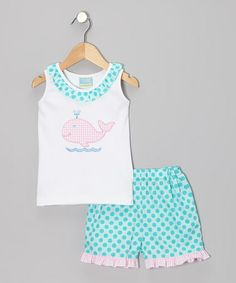 Loving this White Whale Ruffle Tank & Turquoise Polka Dot Shorts - Infant on #zulily! #zulilyfinds