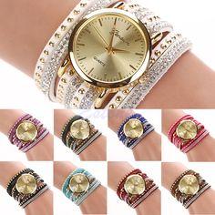 Bling Rhinestone Geneva Faux Leather Strap Analog Quartz Bracelet Wrist Watch #Unbranded #Fashion