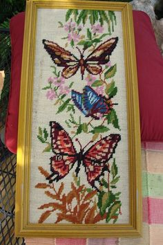 Vintage framed NEEDLEPOINT Butterfly PIcture by thecherrychic, $12.95