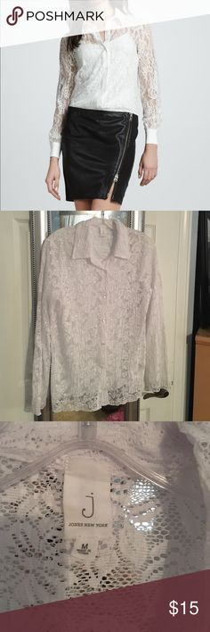 NWOT White Lace Button-Down Blouse NWOT. This Jones New York white lace blouse is so elegant! It has a floral lace pattern and pearlescent buttons down the front. It is see-through, so you would need to wear a camisole underneath. Jones New York Tops Button Down Shirts