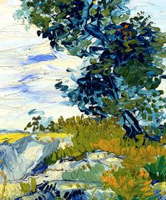 Vincent Van Gogh, detalle de The Rocks.