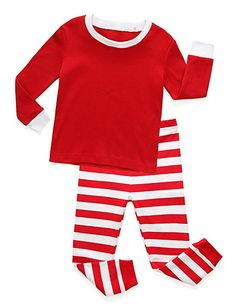 Big Kids Toddlers Rocket Bug Holiday Christmas Red /& White Striped Pajamas with Green Trim for Babies
