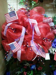 Patriotic mesh wreath.
