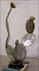 prickly pear cactus flowers metal art sculptures recycled ivanoff