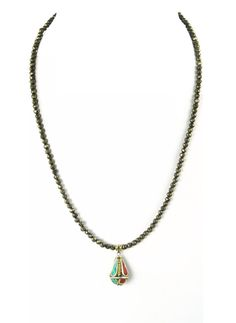 Faceted Pyrite Nepali Teardrop Necklace by IsabellaRaeJewelry
