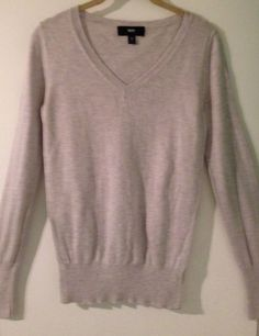 MOSSIMO Ladies S Gray Long Sleeve V-Neck Comfy Casual Sweater #Mossimo #VNeck $8 @Ebay