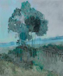 Silver Princess Gum flowers oil on linen, x 61 cm Pastel Landscape, Landscape Art, Love Oil, Blue Horse, Australian Art, Environmental Art, Color Theory, Tree Art, Contemporary Artists