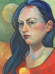 Woman with Blue Hair - Original Oil Painting on Panel - Susy Keely
