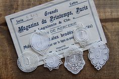 Collection of 6 initial lace embroidery monogram J  - label, tag, antique lace, lace embroidery, trim, lace initial by Yebisu on Etsy