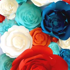 large paper flowers by PaperFlora, Tiffany blue paper flowers, ivory orange paper flowers
