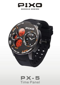 PIXO, PX-5, Time Panel, Dual time display, strong and heavy duty design, multi-eyes design, multi-funciton including: Stopwatch, Alarm and hourly chime. Please see the details at : http://www.pixowatch.com/PIXO-PX-5
