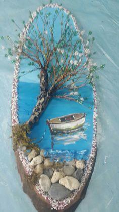 Wood Pallet Art, Wooden Art, Seashell Crafts, Beach Crafts, Wall Art Crafts, Diy Art, Wire Tree Sculpture, Spring Painting, Idee Diy