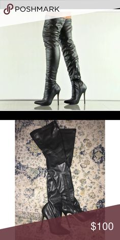 21da0a3334a1 Zigi black leather pointed toe thigh high boots Sexy black thigh high boot!  Scuff on right shoe as pictured. Could be easily fixed.