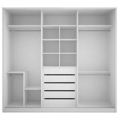 Manhattan Comfort 5 Drawer Bellevue 3 Door Wardrobe in White Gloss Wardrobe Door Designs, Wardrobe Design Bedroom, Wardrobe Doors, Closet Designs, Closet Bedroom, Closet Layout, Built In Wardrobe Ideas Layout, Black Bedroom Furniture, Door Makeover