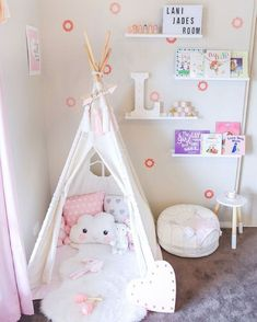 A pillow fort is a nice decoration for your kid's bedroom or playroom. Baby Bedroom, Girls Bedroom, Bedroom Decor, Decor Room, Girl Nursery, Girl Toddler Bedroom, Kid Bedrooms, Shared Bedrooms, Nursery Room