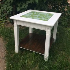 Green Floral Print Pallet Accent Side Table by RosieRustic on Etsy