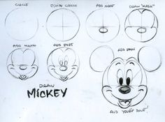 """Bring you child to work day! Today was """"bring your child to work day"""" here at the Disney Store home base. SO, I had the pleasure of showing a room full of kids how to draw Mickey Mouse. After all, it all started with a mouse. The above images are of the worksheet I sketched up for today's lesson. I wanted to break it down and give a step by step approach on drawing Mickey (and Minnie). Taking it a step further and also a nod to my animation background, I wanted to show how to take the same…"""