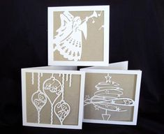 3 Christmas cards cameo ready on Craftsuprint designed by Lyn Simms - A set of easy to make Christmas cards. - Now available for download!