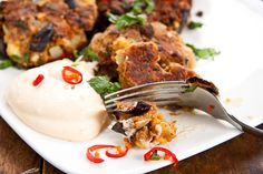 Roasted Aubergine & Feta fritters / cakes - Simply Delicious