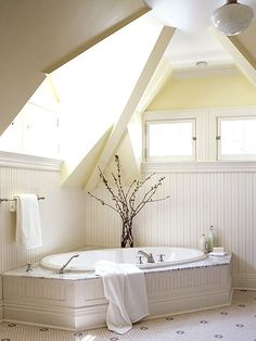 Right now we have only one bathroom.  If we were to build an attic master bedroom, a bathroom of this open design would be a beautiful addition to the space.
