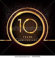ten years birthday celebration logotype. 10th anniversary logo with confetti and golden ring isolated on black background, vector design for greeting card and invitation card.