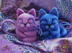 """14.10.2012 Felted Toy  """"Meditating Cat"""".   Работа дня: Медитирующий кот.   Само спокойствие... и очарование. Яркая войлочная игрушка с немного восточным колоритом.  $49"""