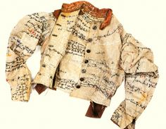 Agnes Richter jacket. A patient in a mental asylum, she embroidered her jacket with messages that were undecipherable. Now the property of a museum. Outsider Art at its best.