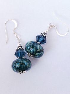 Lampwork Blue Green Black Earrings