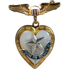 WW2 Son In Service Military Sweetheart Wings Brooch Pin and Locket Pendant
