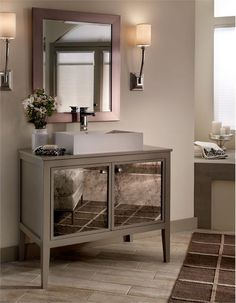 Pics On silver painted bathroom vanity uAntique Mirror Panels from MTI