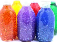 Rainbow Glitter Jars for kids to make and use