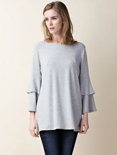 Light Gray Crew Neck Frill Sleeve Tunic