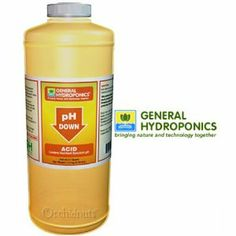 General Hydroponics pH Down Adjusting Solution - 1 Quart by General Hydroponics. $16.88. Add a small ammount, allow to mix, then measure the pH.  Repeat until the desired pH is reached.. General Hydroponics pH solutions are buffered, making it easier to control the pH of your system.. To maximize plant growth, the pH of your nutrients should be slightly acidic. The ideal pH for most crops to fall between 5.5 and 6.5.. One 32 ounce (1 quart) bottle of General Hydropo...