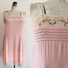 1920s Pink Silk Chemise Cream Lace / 20s Slip Dress Nightgown Embroidered Spaghetti Straps Gored Pleating Romantic Shabby Chic / M to L