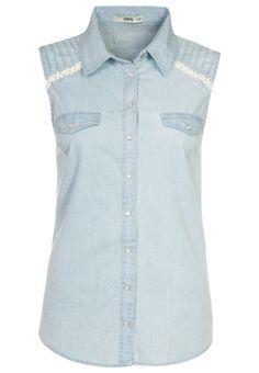 Oasis light blue denim look blouse