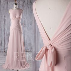 2016 Peach Chiffon Bridesmaid Dress, V Back Wedding Dress with Bow, Long A Line Prom Dress, Evening Gown, Formal Dress Floor Length (J191) by RenzRags on Etsy https://www.etsy.com/listing/497790555/2016-peach-chiffon-bridesmaid-dress-v