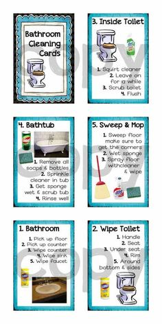 GENIUS! My kids CLEAN the bathrooms all by themselves now! Step by step bathroom cleaning cards for kids. $3.00 - Totally worth it!